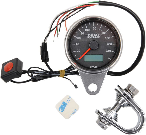 Drag Specialties 220 KMH Black Face Programmable Mini Electronic Speedometer With Odometer/Tripmeter 2.37