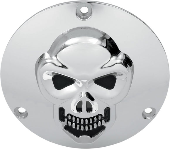 Drag Specialties 3-D Skull Derby Cover Chrome 3-Hole - Part #19020062 - Hogparts UK