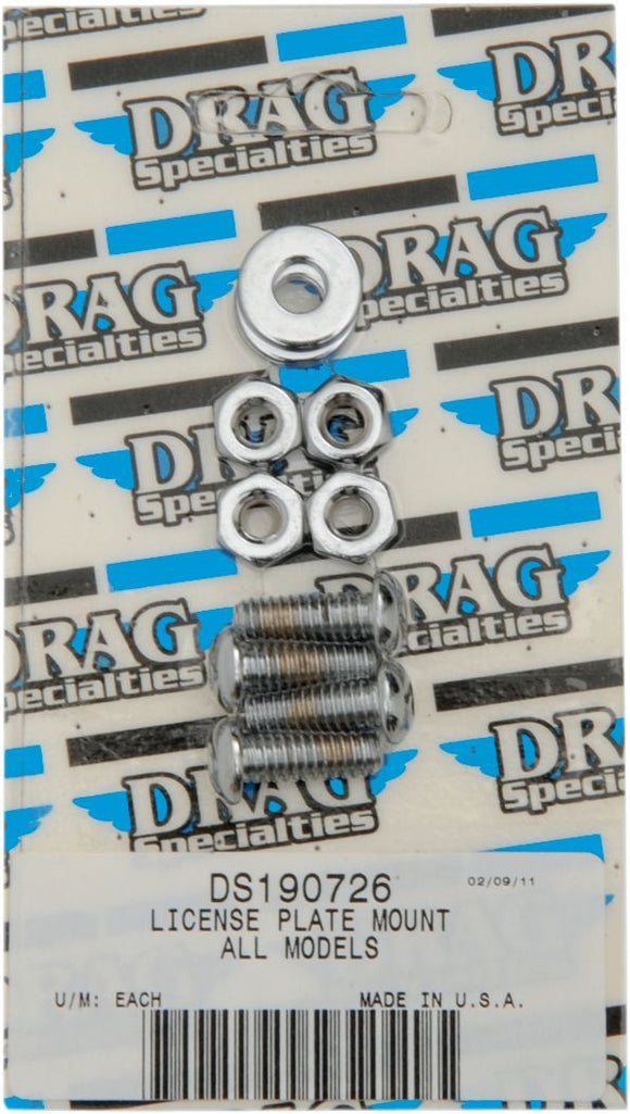 Drag Specialties Chrome Socket-Head License Plate Mount Bolt Kit Knurled - Part #DS190726 - Hogparts UK