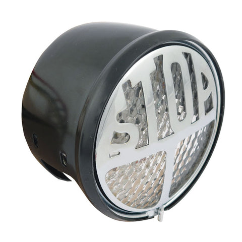 -STOP- TAILLIGHT, LED - CLEAR LENS; BLACK HOUSING; CHROME STOP GRILL; EC APPROVED; WITH LICENSE PLATE LIGHT; DIAMETER 68MM; 50MM DEEP - Part # 516098