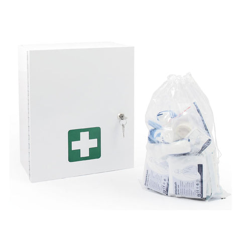 GM FIRST AID WALL CABINET - DIN 13 157; MADE OF PLASTIC, SHOCK-RESISTANT AND BREAK-PROOF - Part # 536501