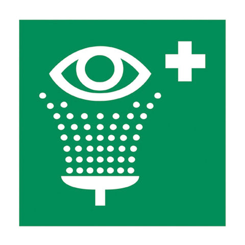 GM EYEWASH STICKER,GREEN CROSS - 148X148MM - Part # 536504