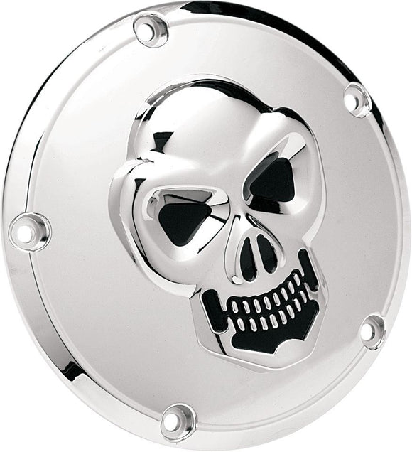 Drag Specialties 3-D Skull Derby Cover Chrome 5-Hole - Part #19020061 - Hogparts UK