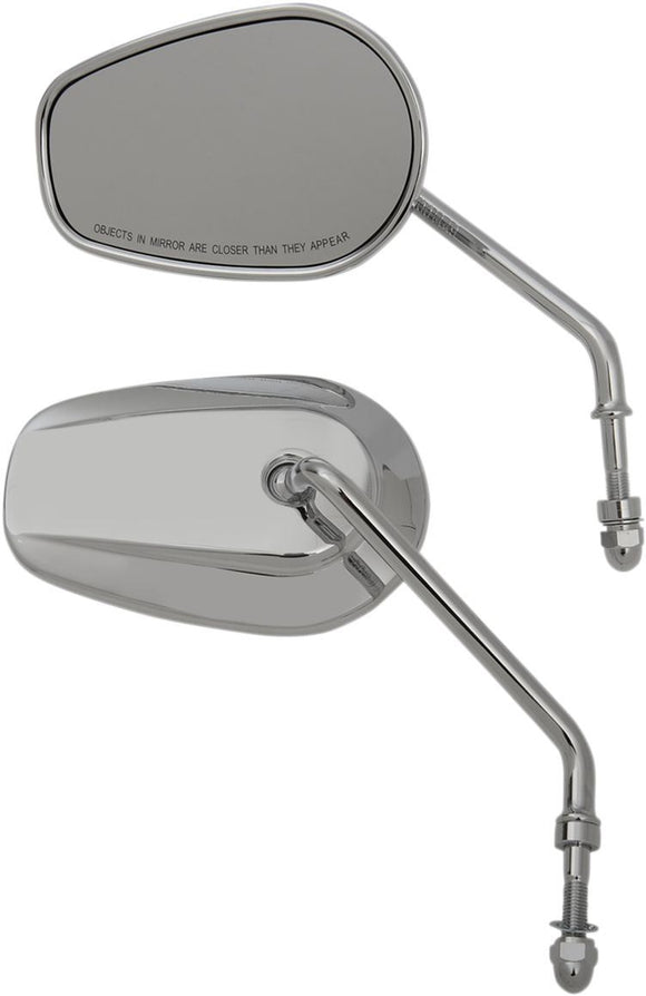 Drag Specialties Mirrors Long Stem One-Style Tear Drop Chrome - Part #06401309 - Hogparts UK