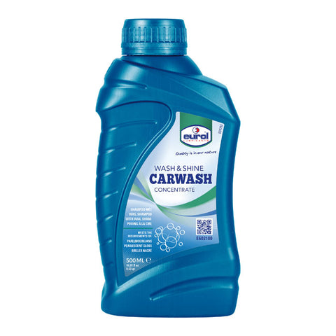 WASH & SHINE CARWASH 500ML - CONCENTRATED 500ML=50L, SYNTHETIC SHAMPOO, SAFE FOR LACQUER, RUBBER, PLASTIC AND CHROME - Part # 904092