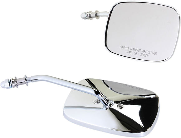 Drag Specialties Mirrors Oem-Style Rectangular Short Chrome - Part #06400980 - Hogparts UK