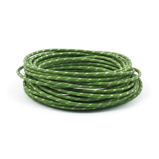 Motorcycle Storehouse Wiring Cloth Covered Wire 25Ft, Green #951803