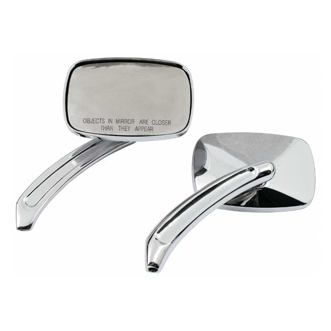 Motorcycle Storehouse Square Doc Mirror Set - 65-Up H-D #980736