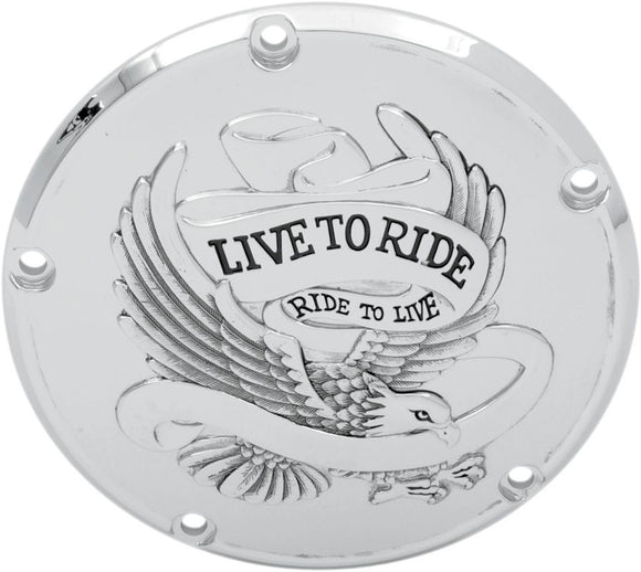 Drag Specialties Live To Ride Derby Cover Chrome 5-Hole - Part #11070157 - Hogparts UK