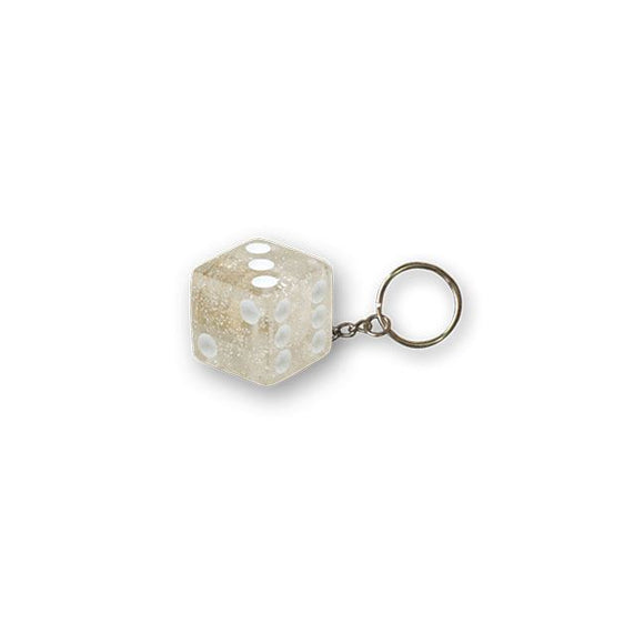 TRIKTOPZ DICE KEY CHAIN CLEAR GLITTER - <br><br>Part #555533 - hogparts-uk.myshopify.com