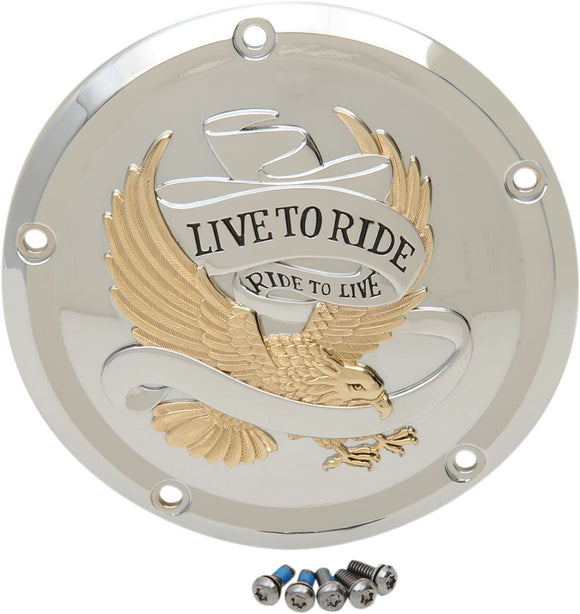 Drag Specialties Cover Derby 5-Hole Live To Ride Chrome/Gold - Part #11070555 - Hogparts UK