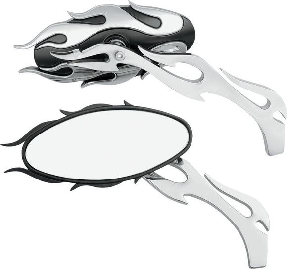 Drag Specialties Mirror Kit Flame Oval W/ Flame Stems Chrome/Black - Part #06400483 - Hogparts UK