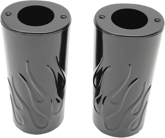 Drag Specialties Fork Slider Covers Flame Gloss Black - Part #04110133 - Hogparts UK