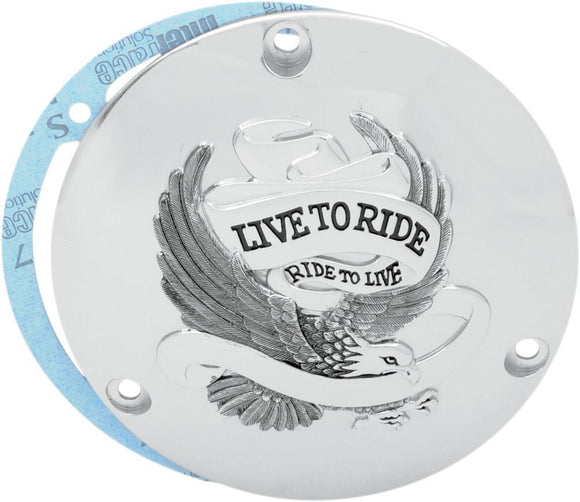 Drag Specialties Live To Ride Derby Cover Chrome 3-Hole - Part #11070155 - Hogparts UK