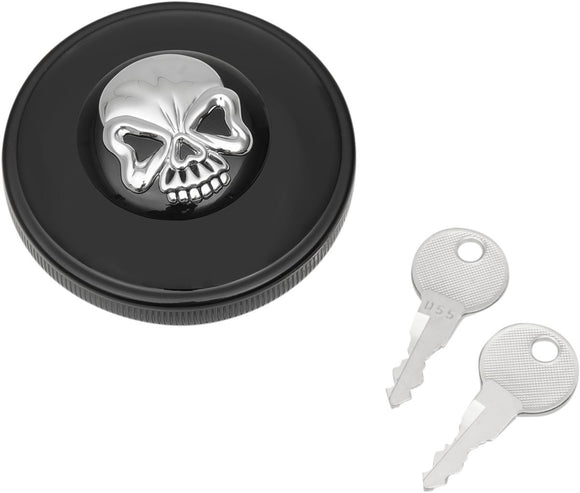 Drag Specialties Gas Cap Screw-In Locking Skull Non-Vented Black - Part #07030691 - Hogparts UK