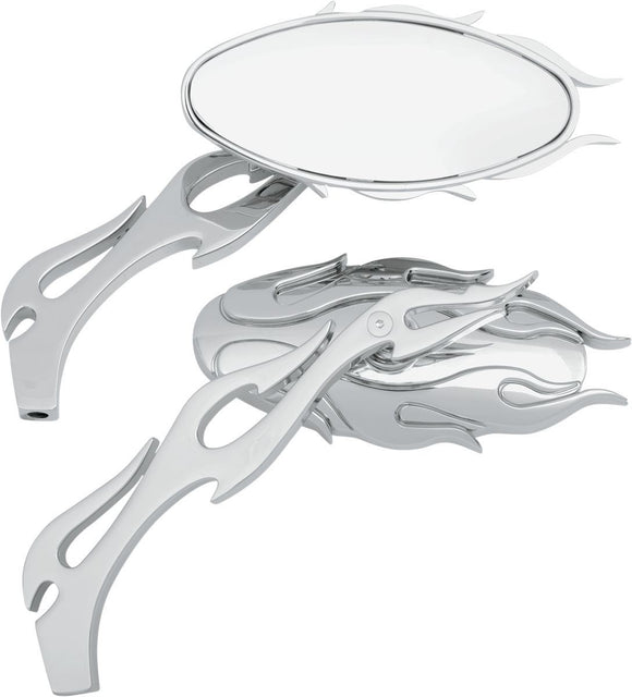 Drag Specialties Mirror Kit Flame Oval W/ Flame Stems Chrome/Chrome - Part #06400484 - Hogparts UK