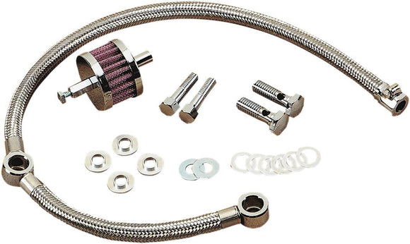 Drag Specialties Braided Hose Crankcase Breather Kit - Part #DS289118 - Hogparts UK