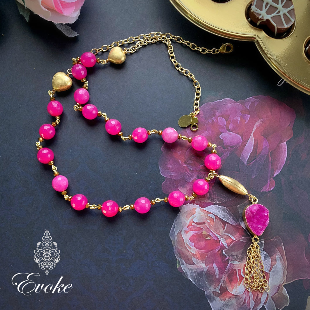 Pink Jade Necklace with Druzy Pendant