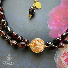 Garnet and Gold Collar Necklace