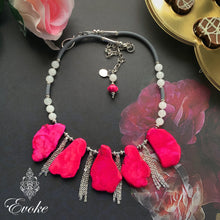 Hot Pink Turquoise and White Jade Necklace