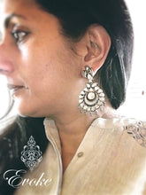 Silver and Kundan Flower Drop Earrings - Evoke by Suhita