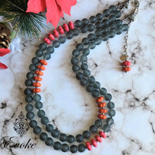 Pink & Orange Howlite with Frosted Gray Glass Necklace - Evoke by Suhita