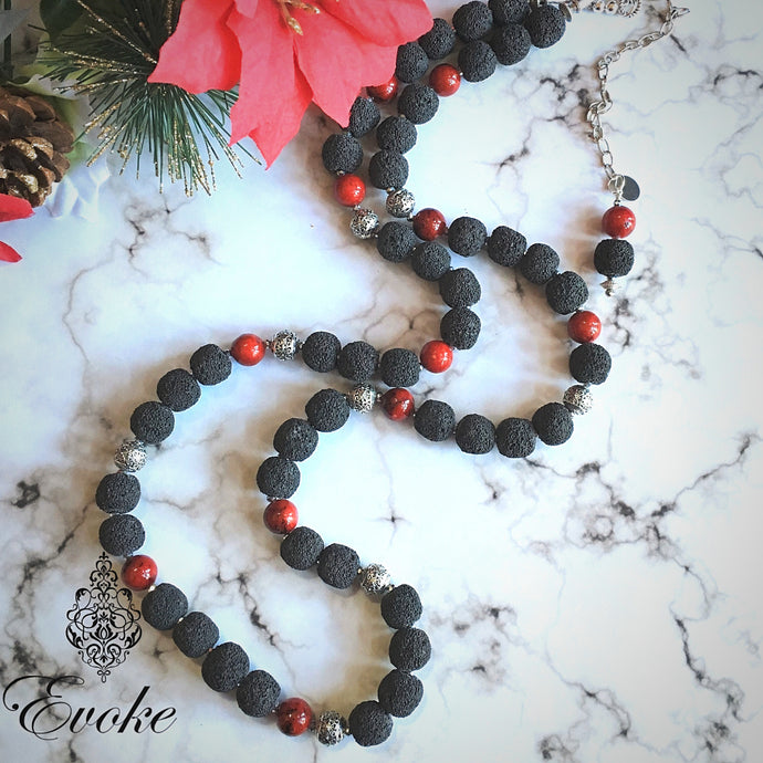 Long Necklace of Lava Beads and Red Chrysocolla