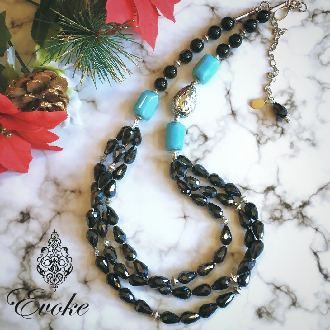 Aquamarine & Electroplated Glass Beads Necklace
