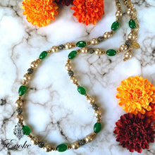 Green Jade & Champagne Shell Pearl Matinee Necklace - Evoke by Suhita