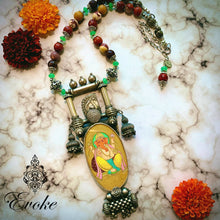 Mookaite Jasper and Jade Necklace with Silver Ganesha Statement Pendant - Evoke by Suhita