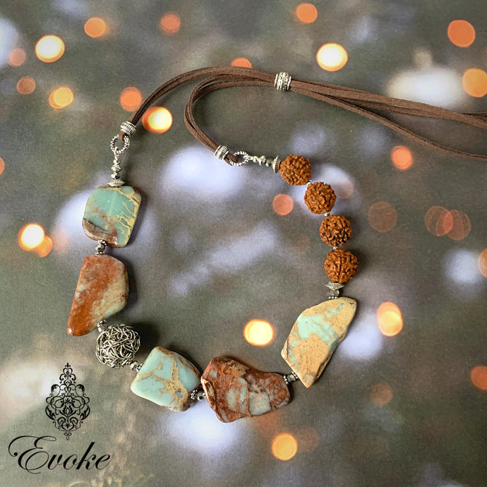 Sea Sediment Jasper & Rudraksha Necklace