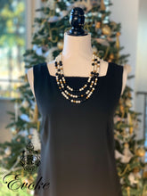 White, Black & Gold Necklace