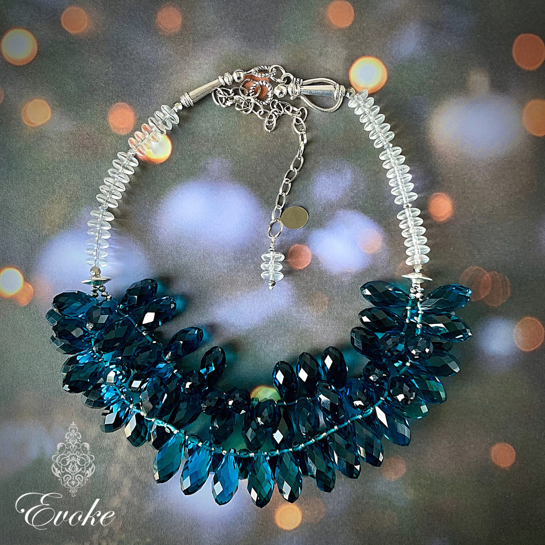 London Blue Crystal Drop Statement Necklace
