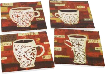 Coasters Mugs Red S/4