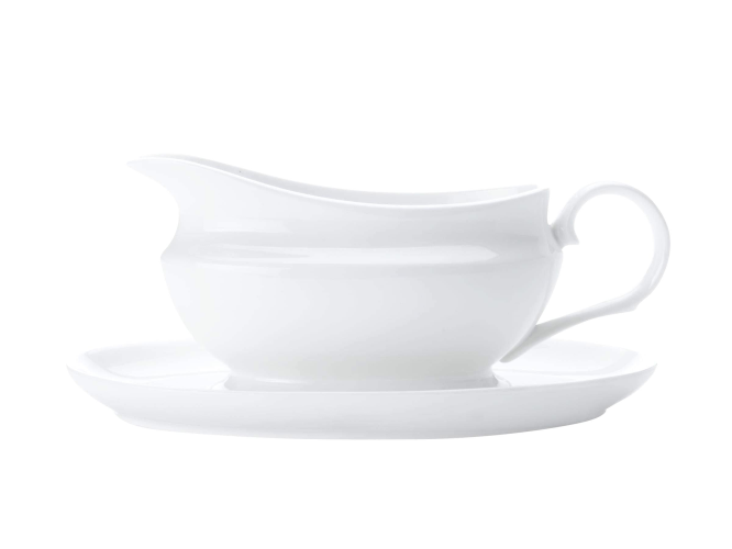 White Basics Gravy Boat & Saucer 550ML Gift Boxed