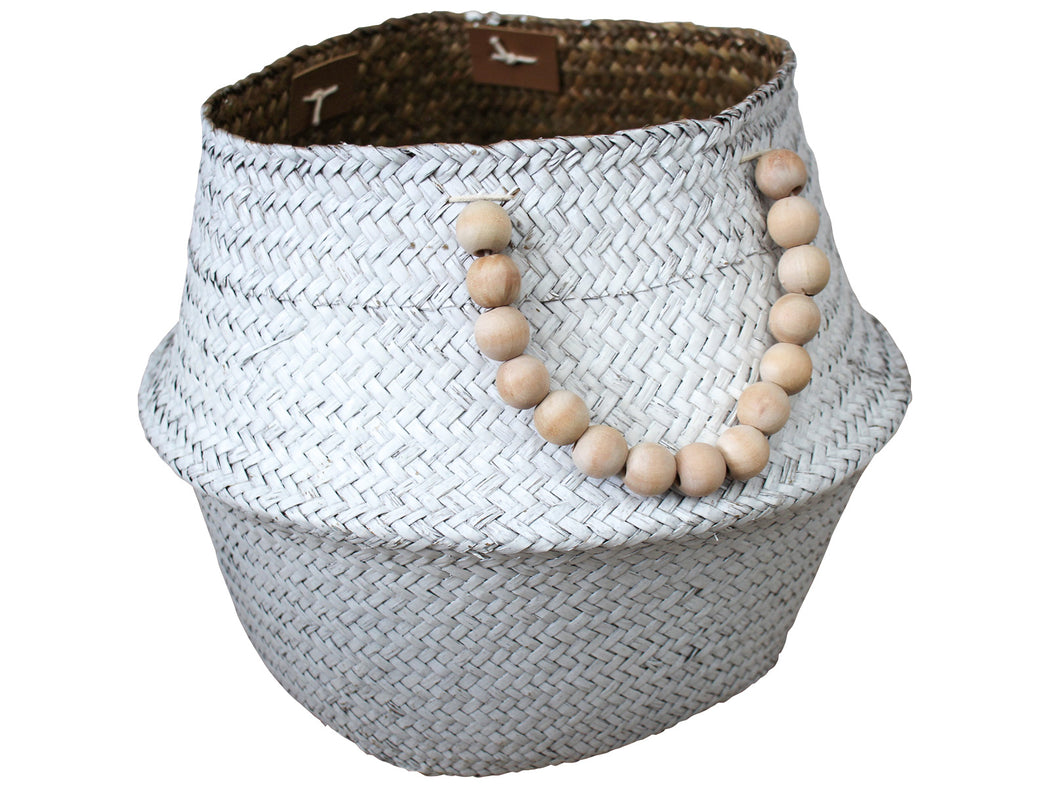 Belly Basket White/Beads