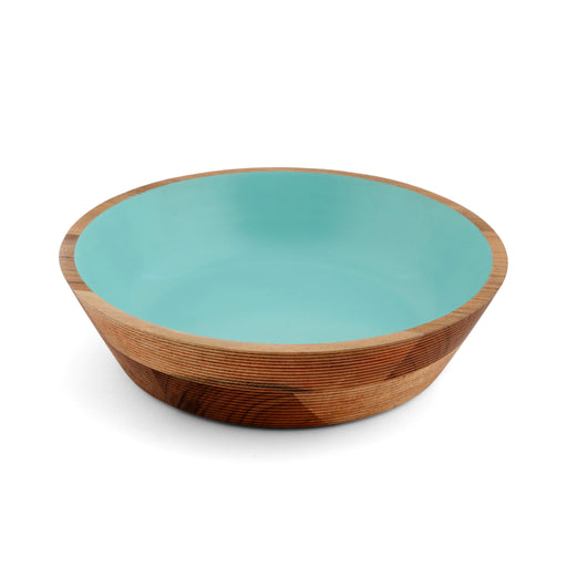 Teal Round Etched Wood Bowl