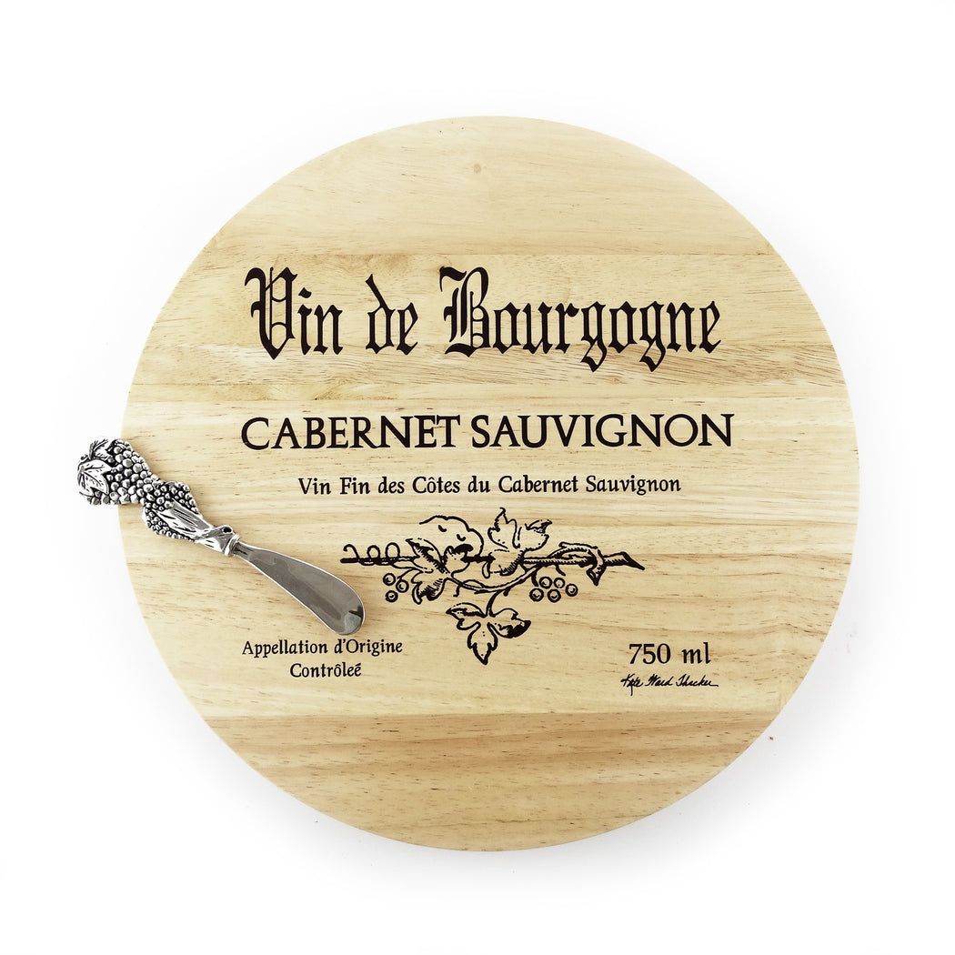 Wine Cask Board with Grape Spreader