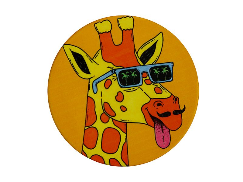 Mulga the Artist Ceramic Round Coaster 10.5cm Giraffe