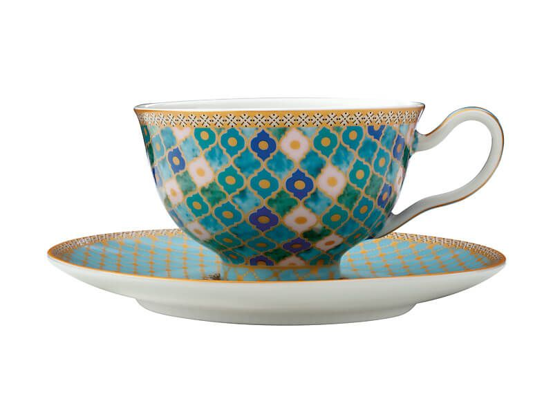 MW Teas & C's Kasbah Footed Cup & Saucer 200ML Mint Gift Boxed