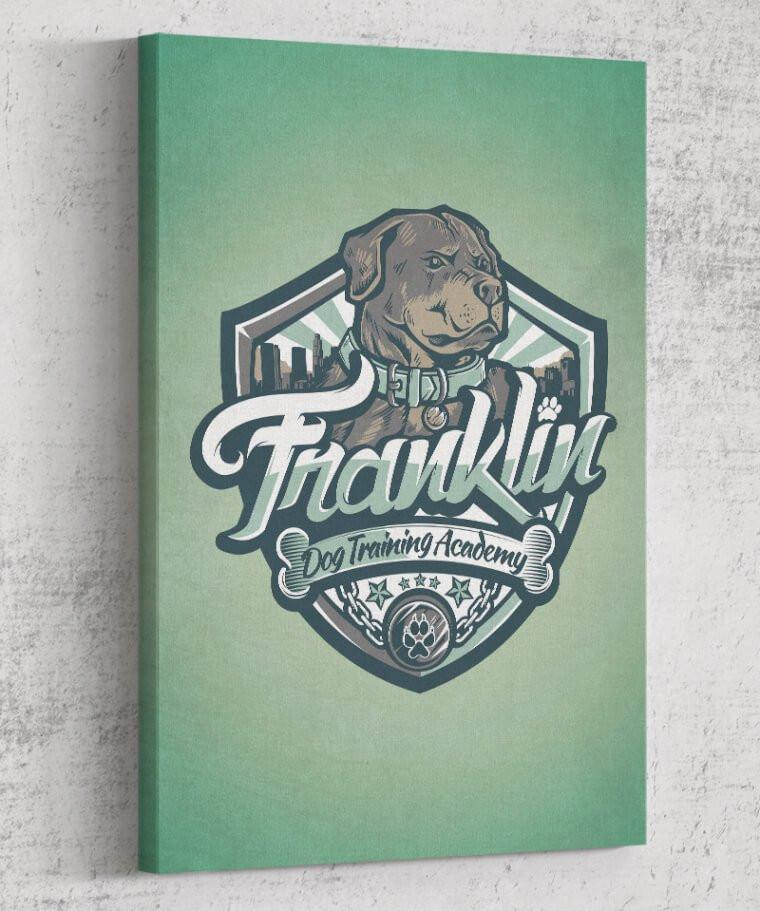 Franklin Dog Academy Canvas by Juan Manuel Orozco - Pixel Empire