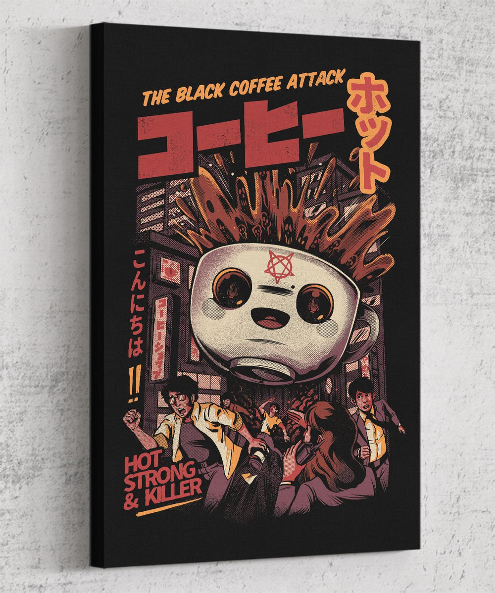 The Black Coffee Attack Canvas by Ilustrata - Pixel Empire