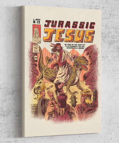 Jurassic Jesus Canvas by Ilustrata - Pixel Empire