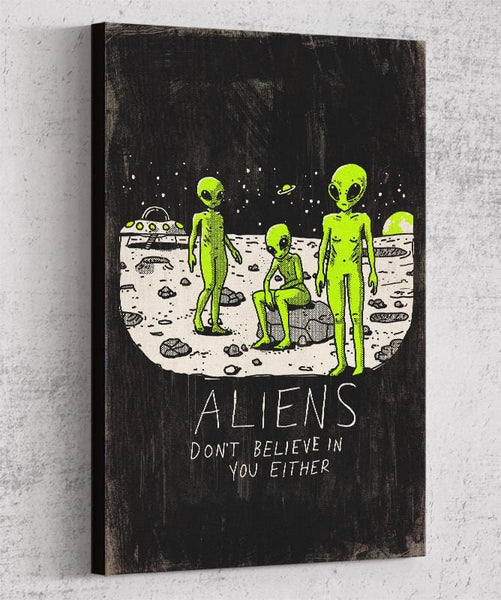 Aliens Don't Believe In You Either Canvas by Ronan Lynam - Pixel Empire