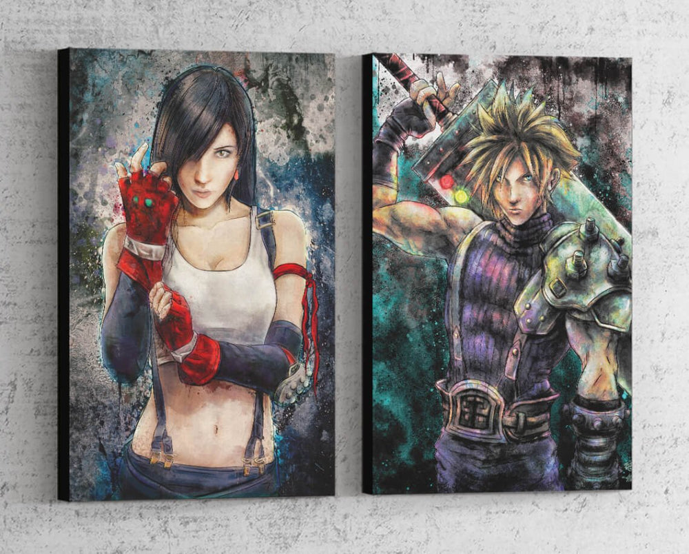 Cloud & Tifa Portrait Set Canvas by Barrett Biggers - Pixel Empire