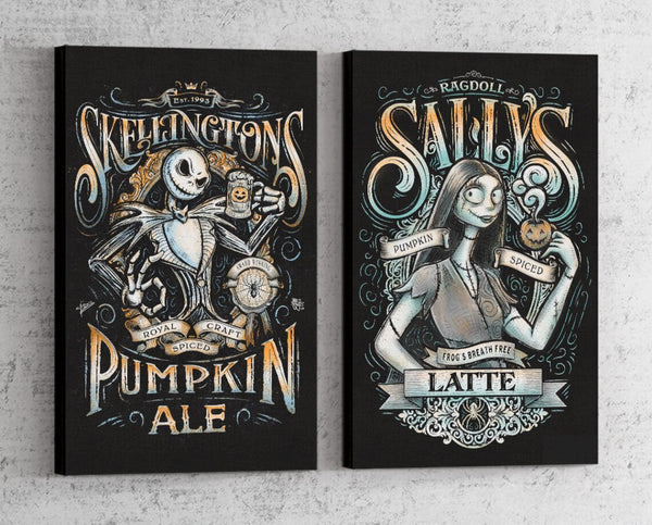 Nightmare Before Christmas Beverage Set Canvas by Barrett Biggers - Pixel Empire