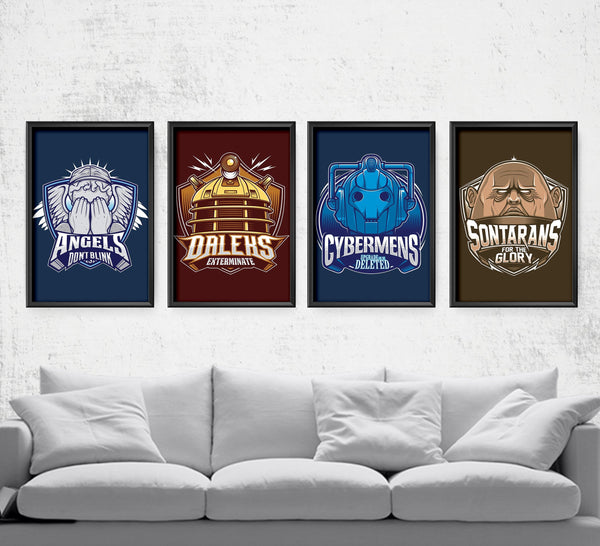Doctor Who Villain Sports Team Series Posters by StudioM6 - Pixel Empire