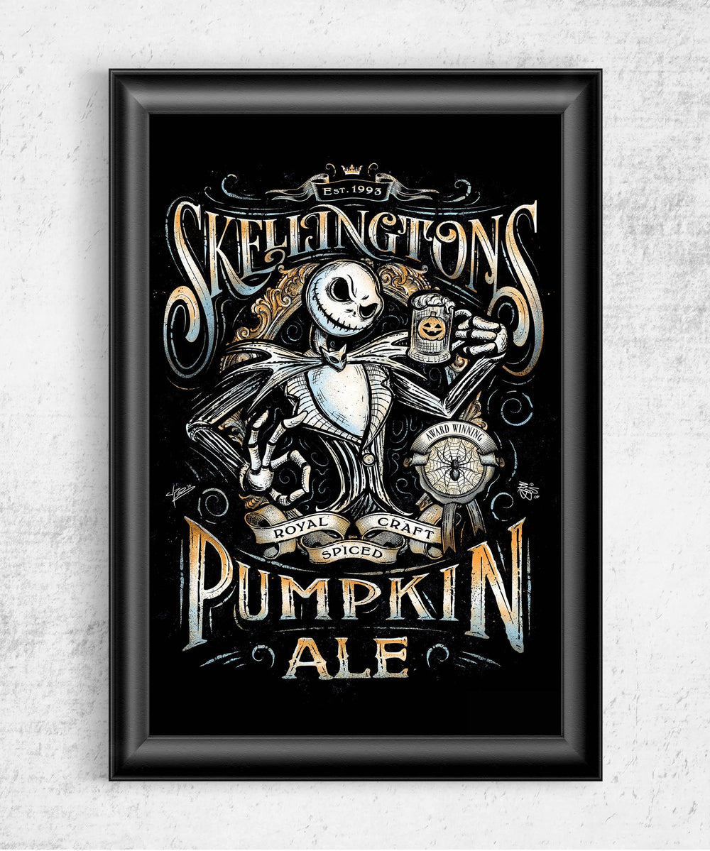 Skellington's Pumpkin Ale Posters by Barrett Biggers - Pixel Empire