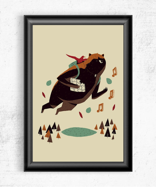 64 Bit Bear & Bird Posters by Louis Roskosch - Pixel Empire