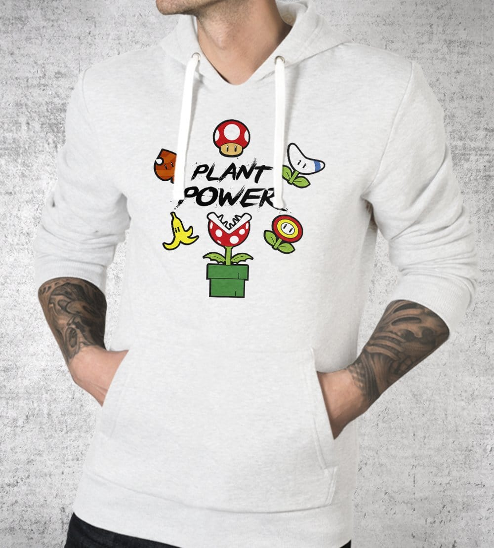 Plant Power White Hoodies by Edge Fitness - Pixel Empire